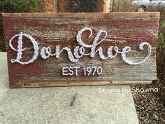 "Custom name board - measures 24"" x 12"" on Iowa barnwood. #stringart  Facebook.com/strungbyshawna"