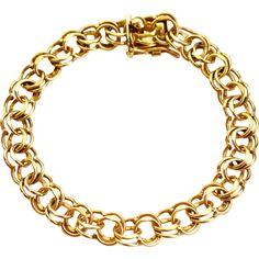 Beautiful 14K Gold Double Link Starter Charm Bracelet by American