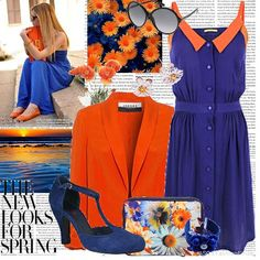 Blue and orange is the new Pink. Colour Combinations Fashion, Color Combinations For Clothes, Fashion Colours, Blue Fashion, Colorful Fashion, Fashion Outfits, Fashion Sets, Monochrome Outfit, Orange Pants