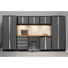 """A great addition to your garage or workshop, the 8 - Piece Bold 3.0 Series Cabinet set is made from 24 gauge steel fully welded frames and 24 gauge reinforced doors. The redesigned full length easy grab handles on the fully lockable doors offer a great modern look for any garage, and the Sandtex paint finish will ensure the cabinets maintain their beautiful look for a lifetime. The floor cabinets come with 2"""" adjustable legs to keep cabinets level, or you may choose to mount the cabinets..."""