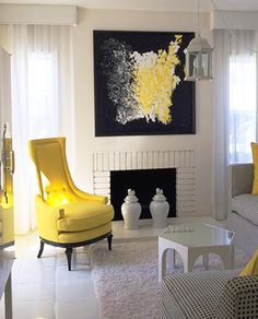 Great update for an older style living room - even has the wooden valences but they look good painted white.  Yellow chair in living room. #Decor #Style #Art #Painting