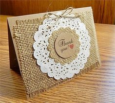 This handmade greeting card is accented with kraft cardstock, burlap, a paper dollie, and printed thank you with a little red heart.   *Size: 5.5 x 4.25   *Kraft cardstock   *Blank inside   *Includes white envelope