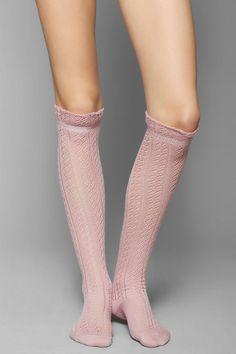 Soft Open-Crochet Ruffle Knee-High Sock #urbanoutfitters