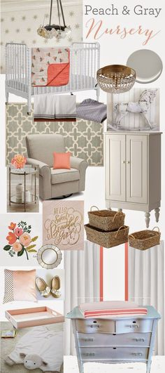 Peach & Gray Nursery {Our Baby Girl} Peach and Gray Baby Girl Nursery Inspiration from and White Peach Nursery, Nursery Room, White Nursery, Nautical Nursery, Nursery Decor, Our Baby, Baby Love, Baby Baby, Nursery Inspiration
