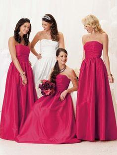 US $109.99 | (FITS0243019 )A-line Strapless Ruffles Sleeveless Floor-length Taffeta Fuchsia Bridesmaid Dress / Prom Dress / Evening Dress