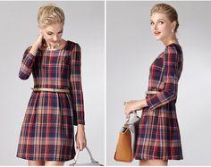 CW07156 Temperament autumn plaid long sleeve dress