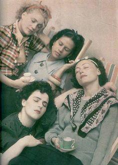 Lee Miller, Ady Fidelin, Nusch Eluard, Leonora Carrington by Roland Penrose, 1954.