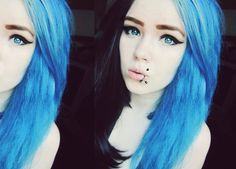 She is using Crazy Color -Capri Blue product! You can find it from our web site here: http://www.cybershop.fi/product/1048/crazycolor-sininen-shokkihiusvari--capri-blue
