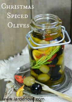 Super quick and easy recipe for making your own Christmas Spiced olives that make the perfect foodie gift