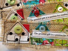 Art Quilted Burlap Bookmarks by MelonyBradley on Etsy, $15.00