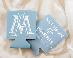 Personalized Wedding Monogram Monogrammed Wedding Favors Placid Blue Monogrammed Wedding Favor Blue Can Cooler by SipHipHooray