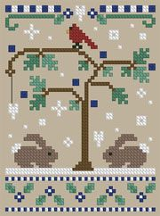 Cross Stitch - Bunnies, Cardinal, Tree, Snow