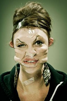 Hilarious Portraits Use Scotch Tape to Distort Faces - Feature Shoot