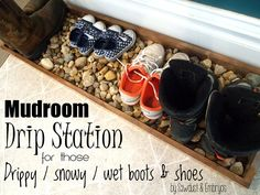 """Drip Tray for Wet and Muddy Shoes Learn how to build a """"Drip-Dry Station"""" to store muddy, wet shoes in your mudroom!Learn how to build a """"Drip-Dry Station"""" to store muddy, wet shoes in your mudroom! Diy Projects Plans, Home Projects, Project Ideas, Shoe Tray, Boot Organization, Organizing, Up House, Farm House, Drip Tray"""