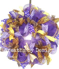 LSU wreath .  Amy, your next project to go with the maroon one you made!  :-)