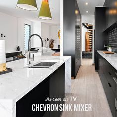 Our Chevron pull out sink mixer in this beautiful island bench kitchen. Island Bench, Dream Bathrooms, Beautiful Islands, Mixer, Chevron, Sink, Kitchen, Design, Products