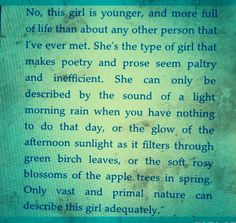 """""""She is the type of girl"""" from Clark's Turning Leaf by @Nicholas Trandahl"""
