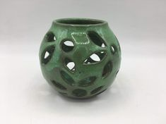 Excited to share this item from my shop: Ceramic Tea Light Holder / Christmas / Green / Handmade Pottery