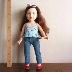Débardeur été en coton bleu ciel motifs cerises pour poupées journey girls toys r us 45 cm