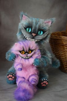 Pink Cheshire Cat toy by MonkeyBusinessToys. Fantasy creatures toys from faux fur and polymer clay. Mystical Stuffed Animals toys for collectibles and home decorations. Realistic beasts toys for kids and adult toys Cheshire Cat Plush, Chesire Cat, Cute Fantasy Creatures, Magical Creatures, Alice In Wonderland Room, Baby Animals, Cute Animals, Arte Disney, Tier Fotos