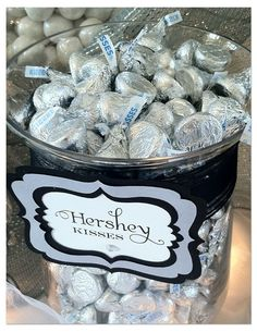 Black and White Candy Table: Wadsworth Mansion (anniversary food candy bars) 25th Wedding Anniversary, Silver Anniversary, Anniversary Parties, Anniversary Ideas, Diamond Anniversary, Bar A Bonbon, White Bridal Shower, Candy Table, Candy Buffet