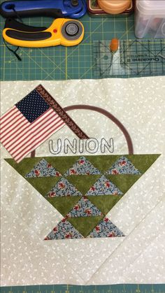 """Yankee Diary block#5 """"Basket and Union Flag"""""""