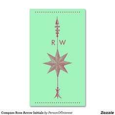 Compass Rose Arrow Initials Double-Sided Standard Business Cards (Pack Of 100)