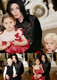 Michael Jackson with his son Prince Michael (aged 4) and daughter Paris (aged 3) in 2001 at Neverland.