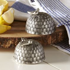 Honey Bee Salt & Pepper Shakers | Bring natural wonder to the table with this set of nickel-plated steel beehive salt & pepper shakers.