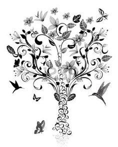 animali bianco e nero: vintage albero