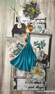 Julie Nutting Doll Stamp by Prima. Zella Teal Paper Collection. Image coloured with Copic markers