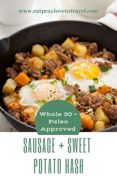 Delectable, savory breakfast sausage combines with tender chunks of sauted sweet potatoes, kale, sage, apples and fried eggs in this Whole 30 breakfast classic. Gluten Free Recipes For Breakfast, Whole 30 Recipes, Brunch Recipes, Appetizer Recipes, Whole 30 Breakfast, How To Make Breakfast, Savory Breakfast, Breakfast Ideas, Sausage Recipes