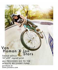 Van Homan and photographer Jon Stars have come up with a great fundraiser for the Athlete Recovery Fund, selling signed limited edition prints of a photo they shot last year. I know for sure there are more than 50 people out there who'd love to have one of these on their wall, so if you're one of them you'd better get on it.