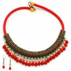 Collar Lazo Rojo,   Compra tus accesorios desde la comodidad de tu casa u oficina en www.dulceencanto.com #accesorios #accessories #aretes #earrings #collares #necklaces #pulseras #bracelets #bolsos #bags #bisuteria #jewelry #medellin #colombia #moda #fashion
