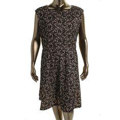 Tahari ASL Womens Plus George Sleeveless Embellished Wear to Work Dress