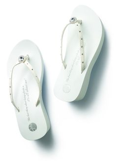 e1a01a4662d57 The bride will love this not only on her wedding day when she wants to  dance. Bridal Flip FlopsBridal ...
