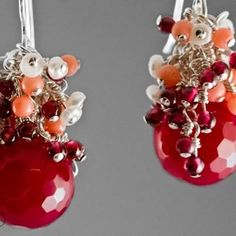 Cranberry - Raspberry Agate, Freshwater Pearl, Coral, Garnet, And Sterling Silver Red Cluster Earrings custom made by Mood Jewelry