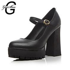Genshou 2016 Hot mulheres Sexy rodada Toe sapatos de salto alto Lace up plataforma fivela sapatos de festa senhora bombas alishoppbrasil
