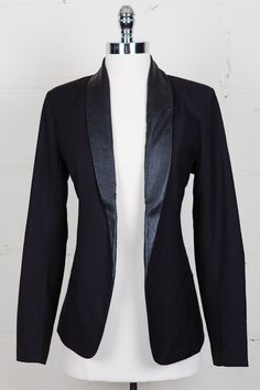 Zane Blazer In Black- Fun piece to wear with black trouser pants and a very low slinky silver sequined tank top!