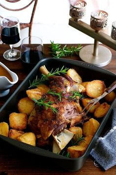 Slow Roasted Rosemary Garlic Lamb Shoulder - cheaper, tastier and easier to make than a leg of lamb. Infused with garlic and rosemary, so tender you don& need a carving knife. Yummy Recipes, Easter Recipes, Meat Recipes, Slow Cooker Recipes, Dinner Recipes, Cooking Recipes, Healthy Recipes, Slow Cooking, Cooking Lamb
