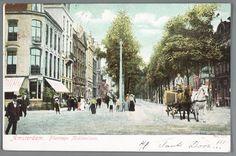 prentbriefkaart met ingekleurde foto van de Plantage Middenlaan in Amsterdam met Hollandsche Schouwburg, ca. 1904