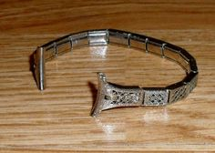 ANTIQUE VINTAGE SILVER  LACE ART DECO GOLD FILLED FILIGREE LADIES WATCH BAND