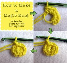 The Curious Pug: Crochet photo tutorial: How to make a magic ring/magic loop/adjustable circle