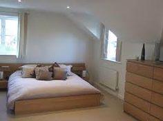 Oak furniture in white-walled, beige carpet room (boring? Attic Conversion, Loft Conversions, Oak Bedroom, Attic Renovation, Beige Carpet, Home Builders, White Walls, Bristol, Furniture