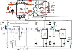 A very effective pure sine wave inverter circuit can be made using the IC 4047 and a couple IC 555 together with a few other passive components. Dc Circuit, Circuit Diagram, Electronics Basics, Electronics Projects, Sine Wave, Circuit Projects, Waves, Homemade, Technology