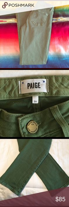 Army green Paige skyline ankle peg Army green size 26. Length is 29 1/2 inches. No holes nor stains . In excellent condition, only have been worn twice. Paige Jeans Jeans Skinny
