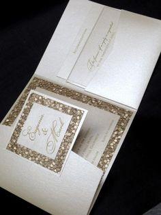 custom wedding invitation high end champagne elegant unique beautiful