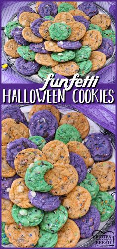 Funfetti Halloween Cookies are tasty & spooky treats made colorful with festive sprinkles baked into each cookie. We added pudding mix for texture and color for FUN! Easy #Halloween #Cookie recipe from Butter With A Side of Bread