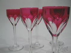 Image detail for -Baccarat Genova Ruby/Rose Red & Clear Cut Crystal 6 Cordial Glasses ...