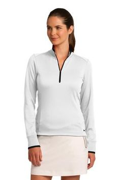 Nike Golf Ladies Dri-FIT 1/2-Zip Cover-Up Style 578674 White/Black